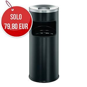 Posacenere autoestinguente a colonna Durable con cestino acciaio 17 L nero