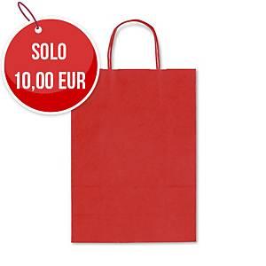 Sacchetto in carta Rex Sadoch 22x27x10 cm rosso - Conf. 25