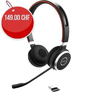 Casque Jabra Evolve 65 UC Duo/Stereo, avec station de charge, Bluetooth