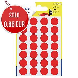 Etichette colorate Avery rotonde Ø 15 mm rosso - conf.168