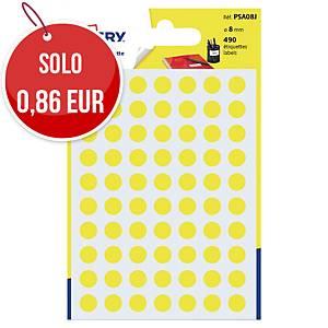 Etichette colorate Avery rotonde Ø 8 mm giallo - conf. 490