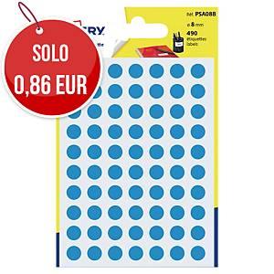 Etichette colorate Avery rotonde Ø 8 mm blu - conf. 490