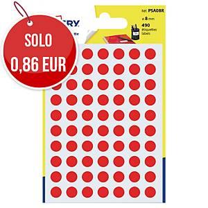 Etichette colorate Avery rotonde Ø 8 mm rosso - conf. 490