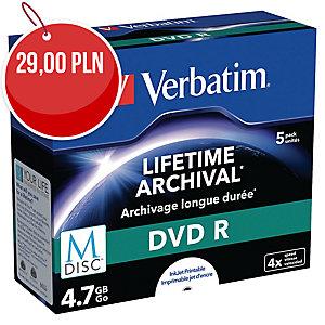 Płyta DVD VERBATIM Printable DVD+R/M-Disc 4x, w opakowaniu 5 sztuk