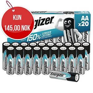 Batterier Energizer Alkaline Max Plus AA, pakke à 20 stk.
