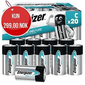 Batterier Energizer Alkaline Max Plus C, pakke à 20 stk.