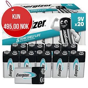 Batterier Energizer Alkaline Max Plus 9V, pakke à 20 stk.