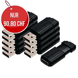 Speicher Stick PinStripe Drive Verbatim, USB 2.0, 8 GB, schwarz, Pk. à 10 Stk.