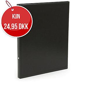 Præsentationsringbind Plast Petter, 40 mm, sort
