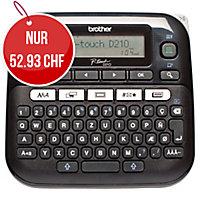 Beschriftungsgerät Brother P-touch D210VP, QWERTZ Tastatur, schwarz