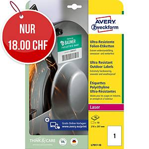 Ultra-Resistente Etiketten Avery Zweckform L7917, 210x297mm, weiss