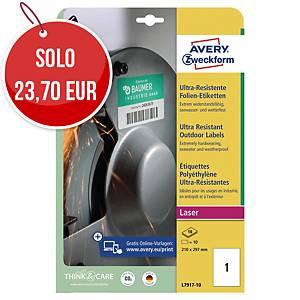 Etichette polietilene ultra resistente Avery L7917 210x297mm bianco - conf. 10