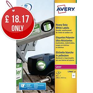Avery L7068-20 Resistant Labels, 199.6 x 143.5 mm, 2 Labels Per Sheet