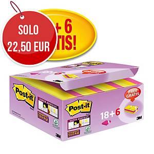 Foglietti Post-it® adesivo Super Sticky 47,6x47,6mm assortiti -18+6 gratis