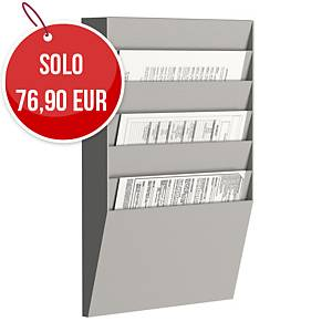Espositore da parete Paperflow 6 scomparti A4 orizzontali grigio