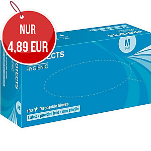 SEMPER Hygienic Einweg-Latexhandschuhe, puderfrei, weiß, Größe 8, 100 Stück