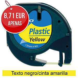 Fita autoadesiva DYMO LetraTag de plástico com texto preto/fundo amarelo