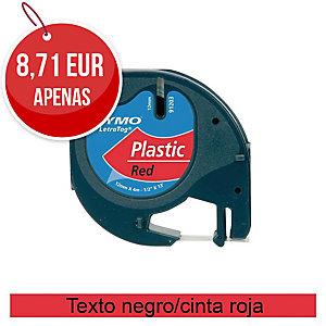 Fita autoadesiva DYMO LetraTag de plástico com texto preto/fundo vermelho