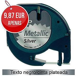 Fita autoadesiva DYMO LetraTag de plástico com texto preto/fundo prateado