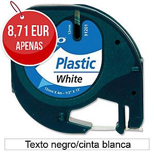 Fita autoadesiva DYMO LetraTag de plástico com texto preto/fundo branco