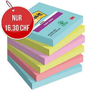 Haftnotizen Post-it Super Sticky, 76x76mm, 90 Blatt, Miami, Pk. à 6 Stk.
