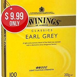 TWININGS EARL GREY TEA BAGS STRING & TAG - BOX OF 100