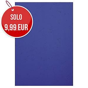 Copertine in cartoncino Exacompta effetto cuoio 270 g/mq A4 blu - conf.100