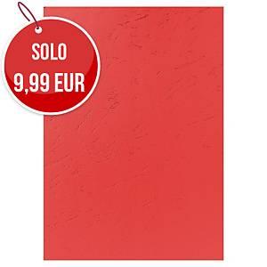 Copertine in cartoncino Exacompta effetto cuoio 270 g/mq A4 rosso - conf.100