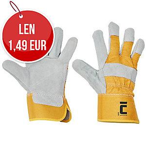 Kožené rukavice, veľkosť 10, farba biela/žltá