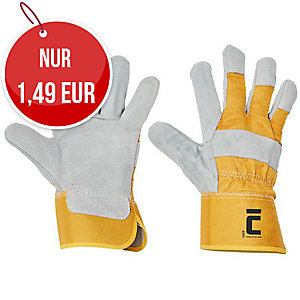 Lederhandschuhe, Größe 10, weiß/gelb