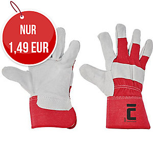 Lederhandschuhe, Größe 11, weiß/rot