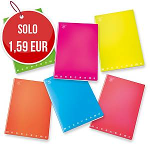Quaderno Pigna Monocromo Maxi 21 x 29,7 cm quadretti 5 mm colori fluo