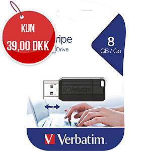 USB-nøgle 2.0 Verbatim Pinstripe Flash Memory Stick, 8 GB, sort