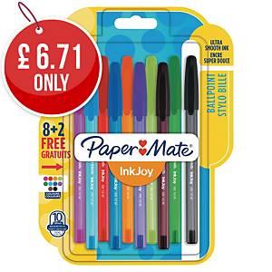 Paper Mate InkJoy 100ST Ball Pen Medium Asst - Pack Of 10
