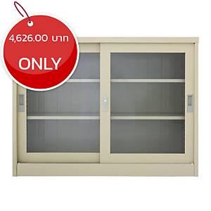METAL PRO MET-1275G Steel Sideboard With Clear Window Cream
