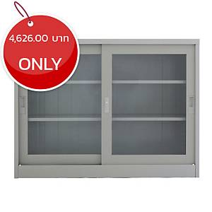 METAL PRO MET-1275G Steel Sideboard With Clear Window Dark Grey