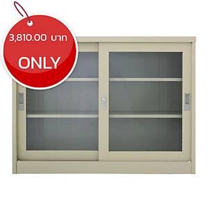 METAL PRO MET-975G Steel Sideboard With Clear Window Cream
