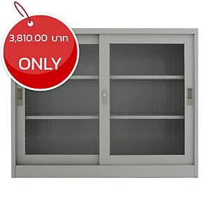 METAL PRO MET-975G Steel Sideboard With Clear Window Darkgrey