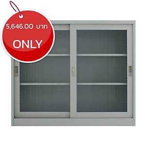 METAL PRO MET-12110G Steel Sideboard With Clear Window Darkgrey