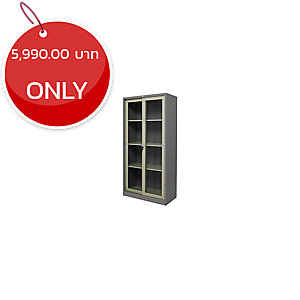 ZINGULAR ZDG-1886 STEEL SLIDING DOOR CABINET WITH GLASS GREY