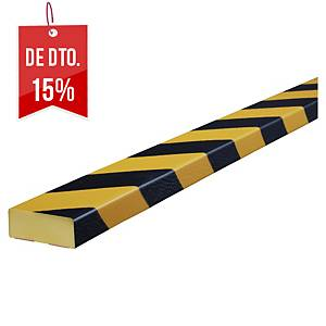Protetor de parede tipo D Knuffi - 1 m x 50 mm x 20 mm - preto/amarelo