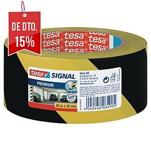 Fita de sinalização adesiva Tesa Signal Premium - 50 mm x 66 m - amarelo/preto