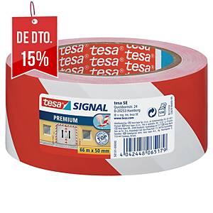 Fita de sinalização adesiva Tesa Signal Premium - 50 mm x 66 m - vermelho/branco