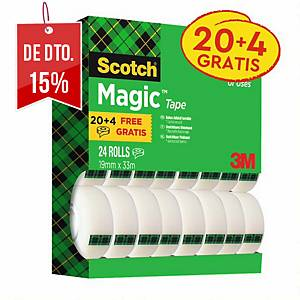 Pack 24 rolos de fita adesiva invisível Scotch Magic - 19 mm x 33 m