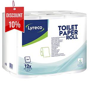 LYRECO 2-PLY TOILETPAPER ROLL 250 SHEET- PACK OF 12
