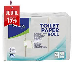 Pack de 12 rolos de papel higiénico Lyreco - Folha dupla - 30 m