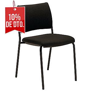 Pack 2 sillas de recepción con 4 patas LYRECO Savannah color negro