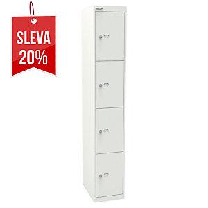 4dveřová šatní skříň Bisley, bílá, 802 x 305 x 457 mm
