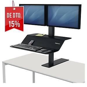 Estação de trabalho Fellowes Lotus™ VE - dois monitores - fixação à mesa - preto