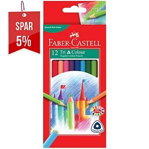 Farveblyanter Faber-Castell Tri Colour, pakke a 12 assorterede farver